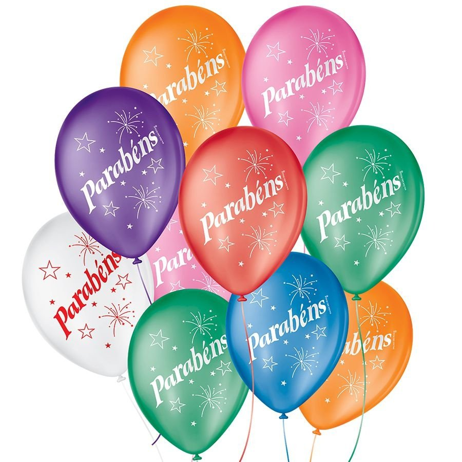 "Balão de Festa Decorado Parabéns - Sortido 9"" 23cm - 25 Unidades"