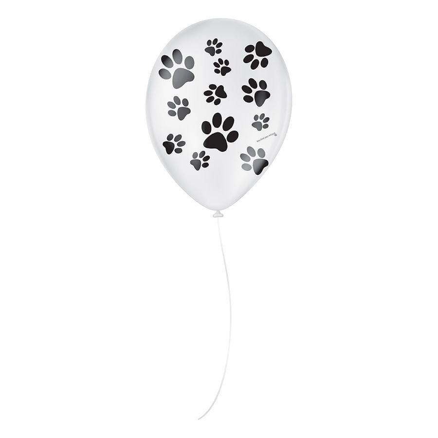 """Balão de Festa Decorado Patinha de Cachorro - Branco e Preto 9"""" 23cm - 25 Unidades"""
