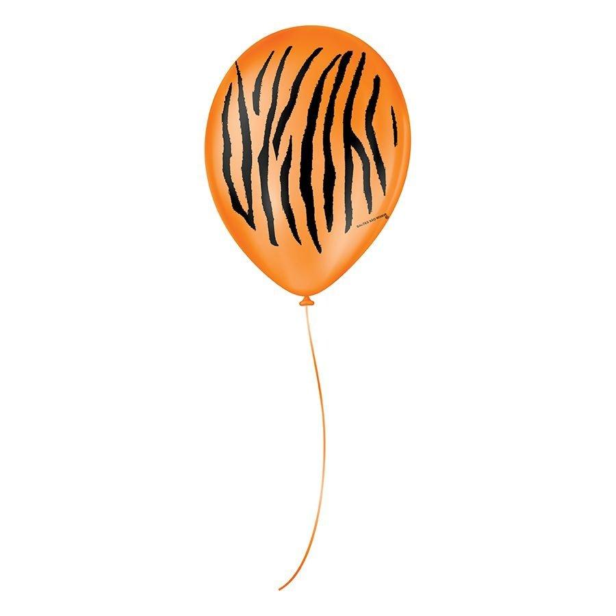 """Balão de Festa Decorado Tigre - Laranja e Preto 9"""" 23cm - 25 Unidades"""