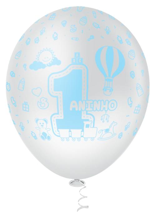 """Balão de Festa Estampado 1 Aninho Sortido - 10"""" 25cm - Pic Pic"""