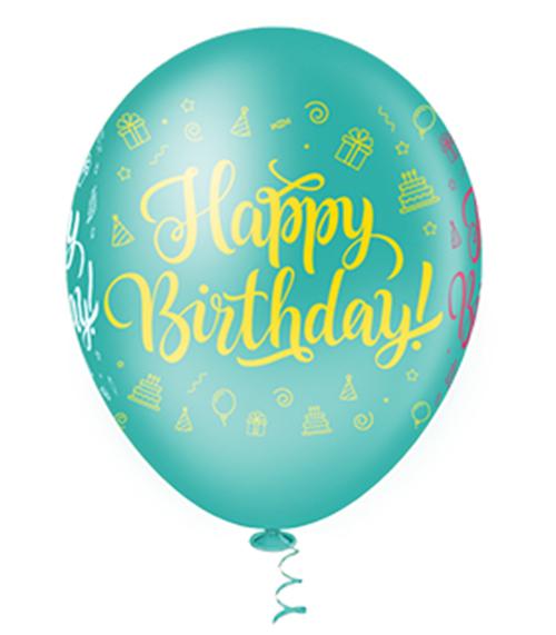 "Balão de Festa Estampado Happy Birthday Sortido - 10"" 25cm - Pic Pic"