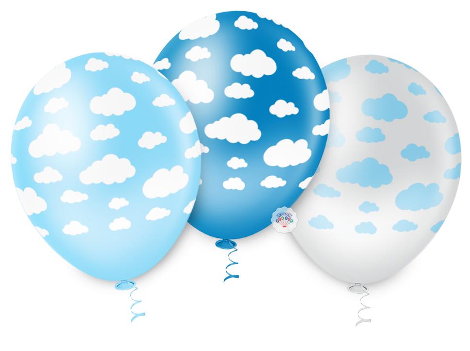 """Balão de Festa Estampado Nuvem Sortido - 10"""" 25cm - Pic Pic"""