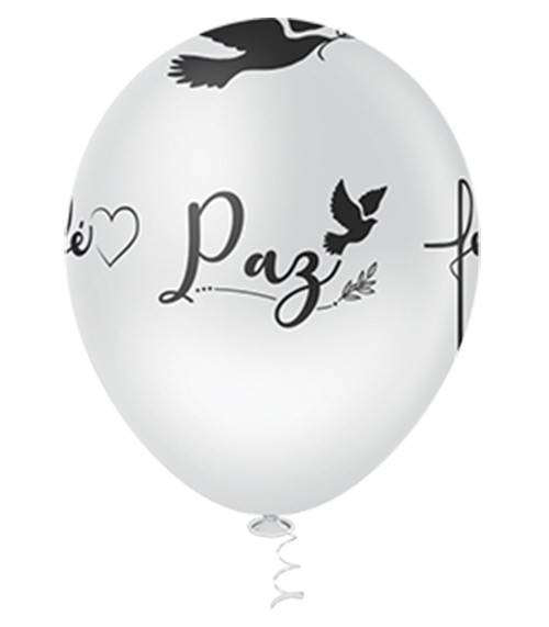 """Balão de Festa Estampado Paz, Fé e Gratidão Sortido - 10"""" 25cm - Pic Pic"""
