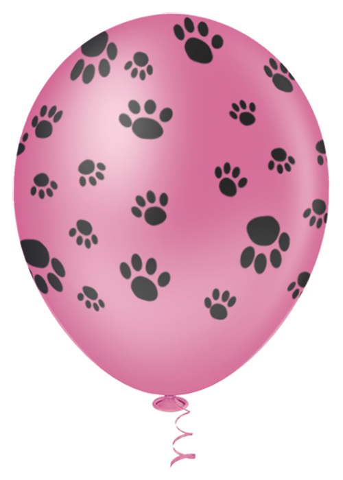 """Balão de Festa Estampado Pegadas Dog Rosa Baby/Rosa Forte - 10"""" 25cm - Pic Pic"""