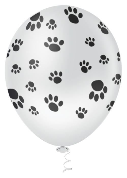 """Balão de Festa Estampado Pegadas Dog Sortido - 10"""" 25cm - Pic Pic"""