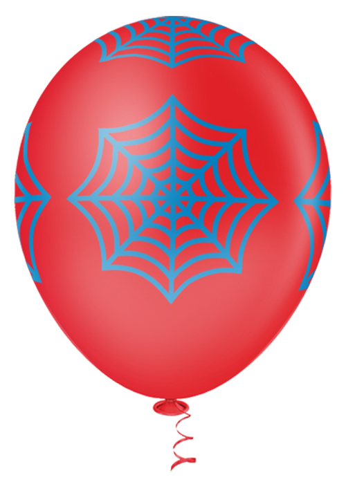 """Balão de Festa Estampado Teia de Aranha Sortido - 10"""" 25cm - Pic Pic"""