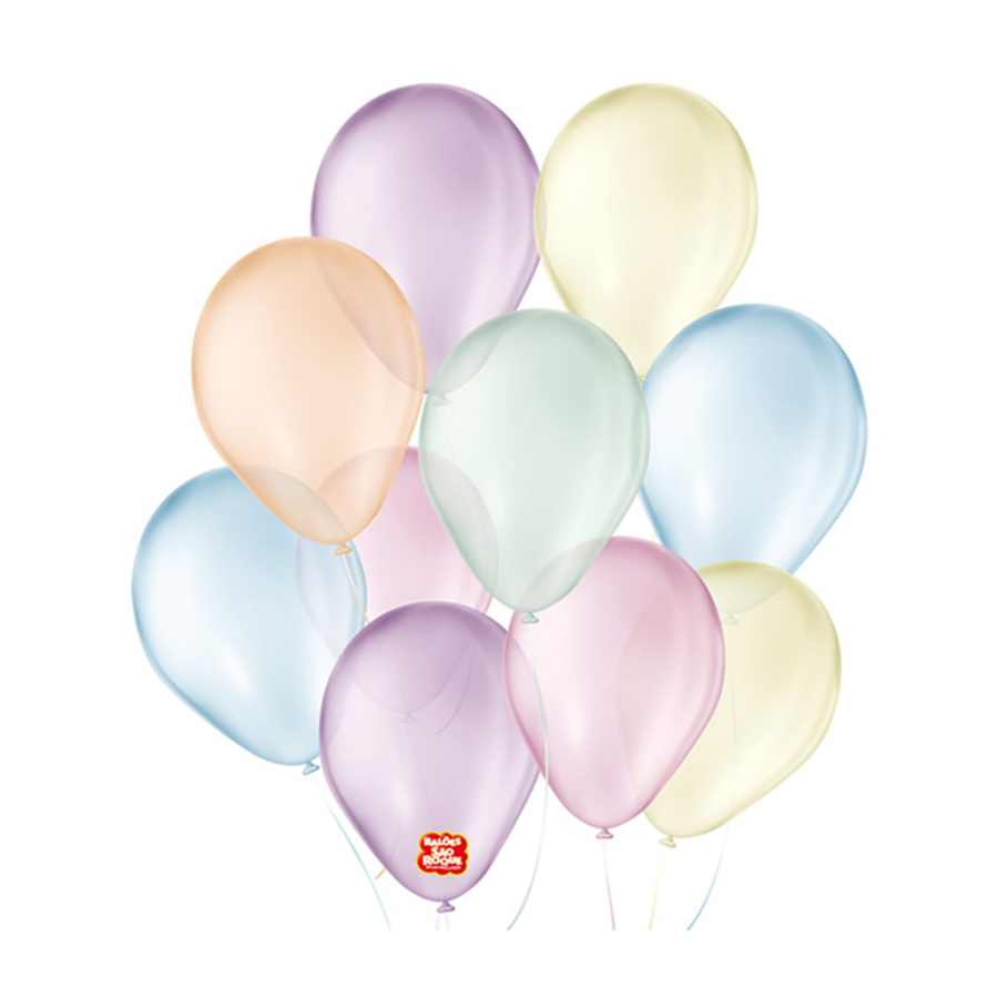 """Balão de Festa Látex Cristal Baby - Cores - 7"""" 18cm - 25 Unidades"""