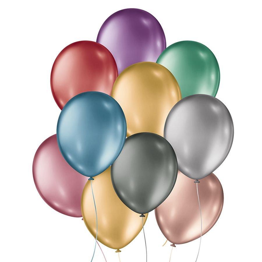 "Balão de Festa Metálico - Cores - 11"" 28cm - 25 Unidades"