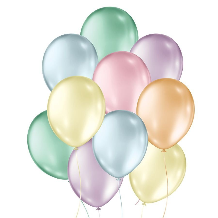 """Balão de Festa Perolado - Cores - 7"""" 18cm - 50 Unidades"""