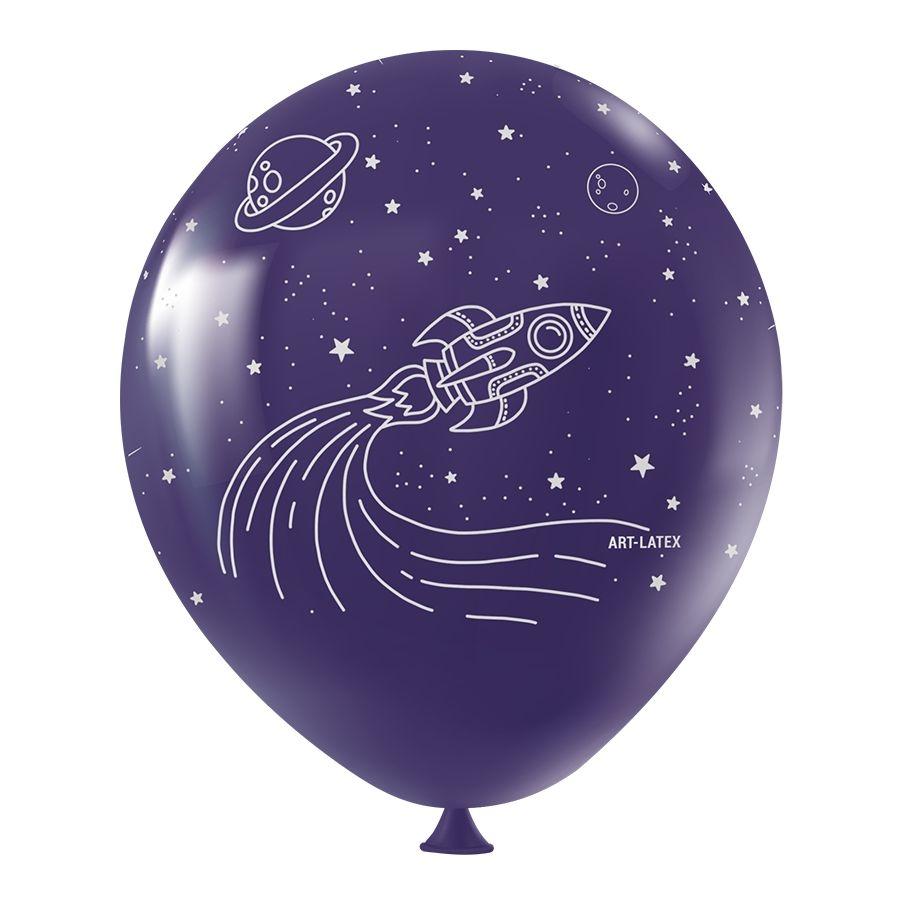 """Balão de Festa Redondo Profissional Látex Decorado 11"""" 28cm - Astronauta - 25 Unidades"""