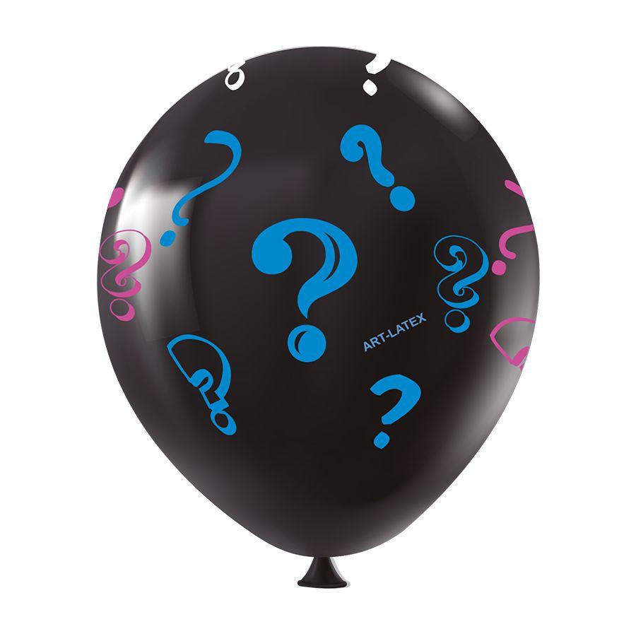 """Balão de Festa Redondo Profissional Látex Decorado - 11"""" 28cm - Chá Revelação Preto - 25 Unidades"""