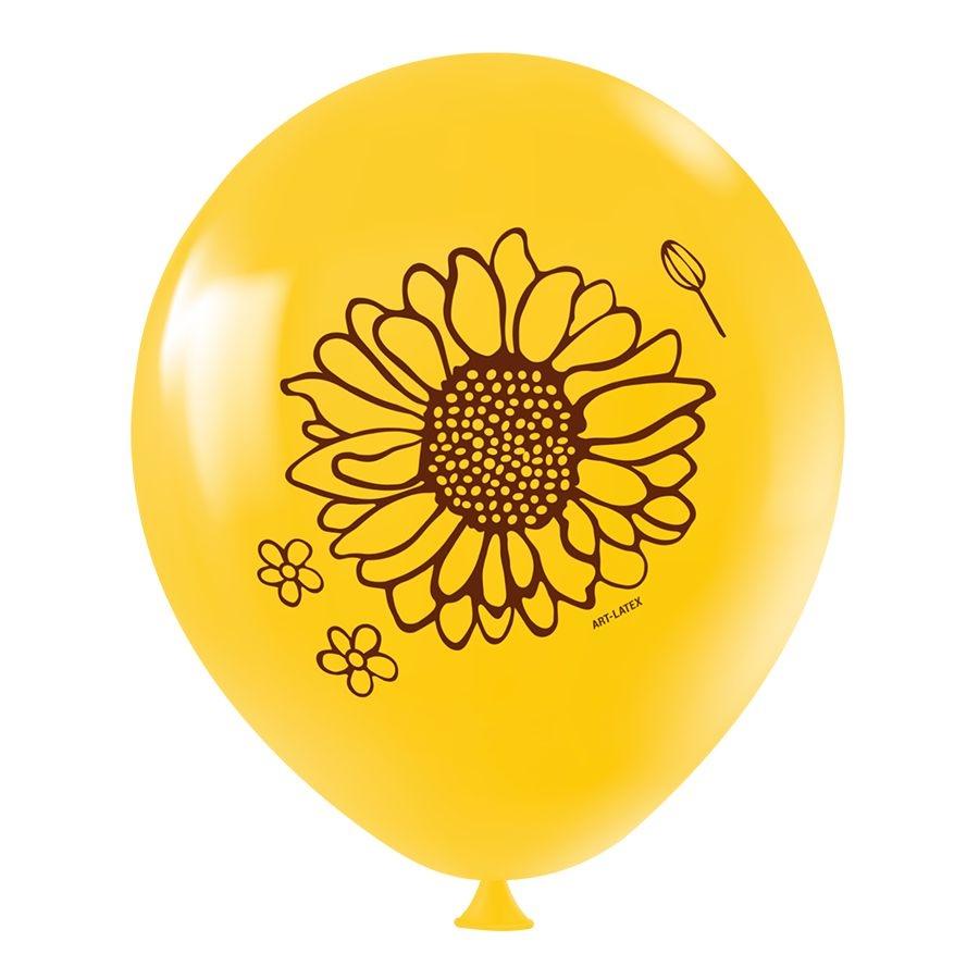 """Balão de Festa Redondo Profissional Látex Decorado 11"""" 28cm - Girassol - 25 Unidades"""
