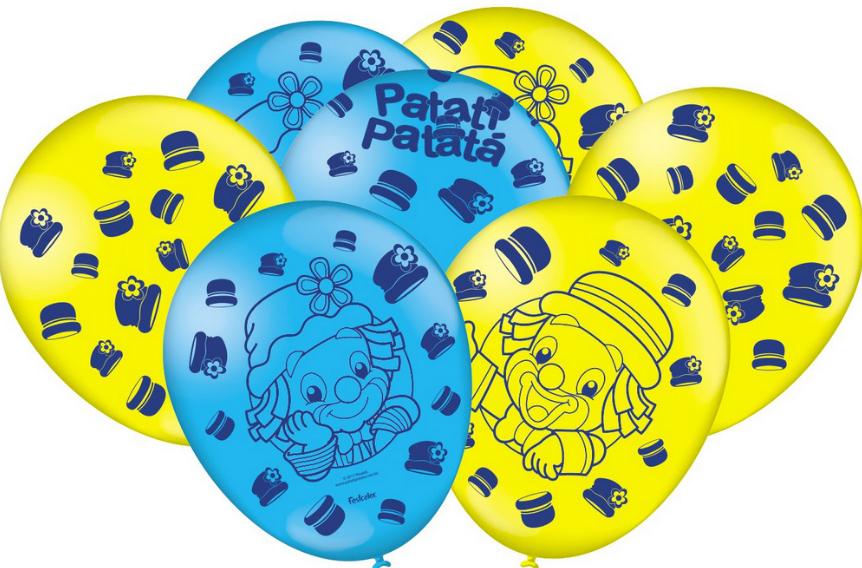 """Balão Festa Parque Patati Patatá - 9"""" 23cm - 25 unidades - Festcolor"""