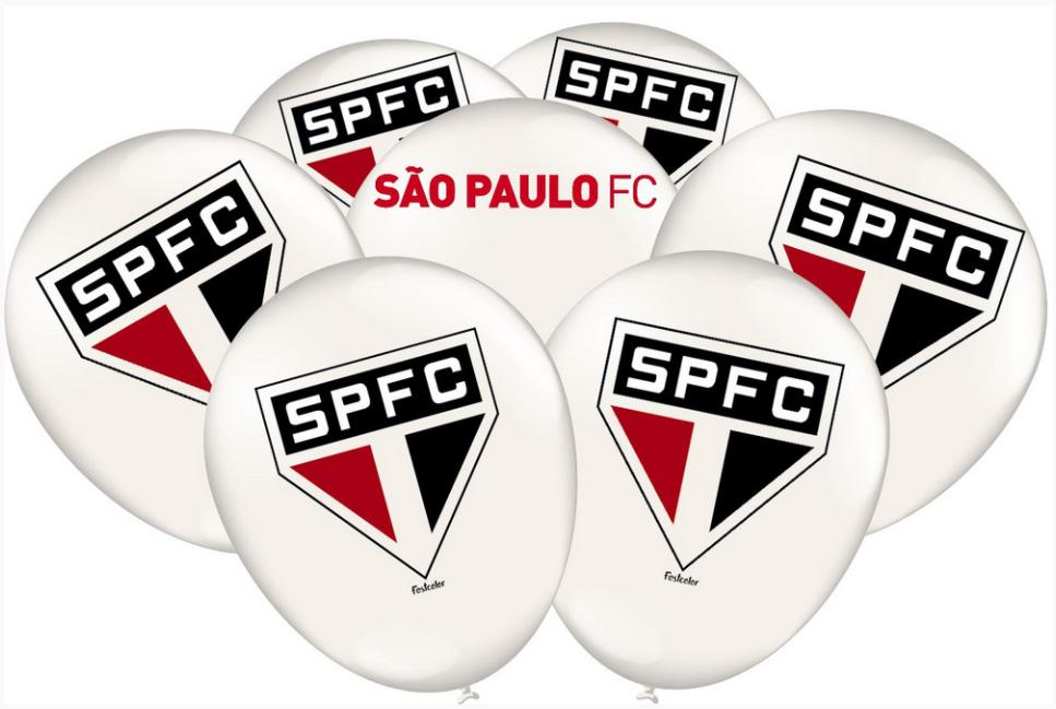 """Balão Festa São Paulo - 9"""" 23cm - 25 unidades - Festcolor"""
