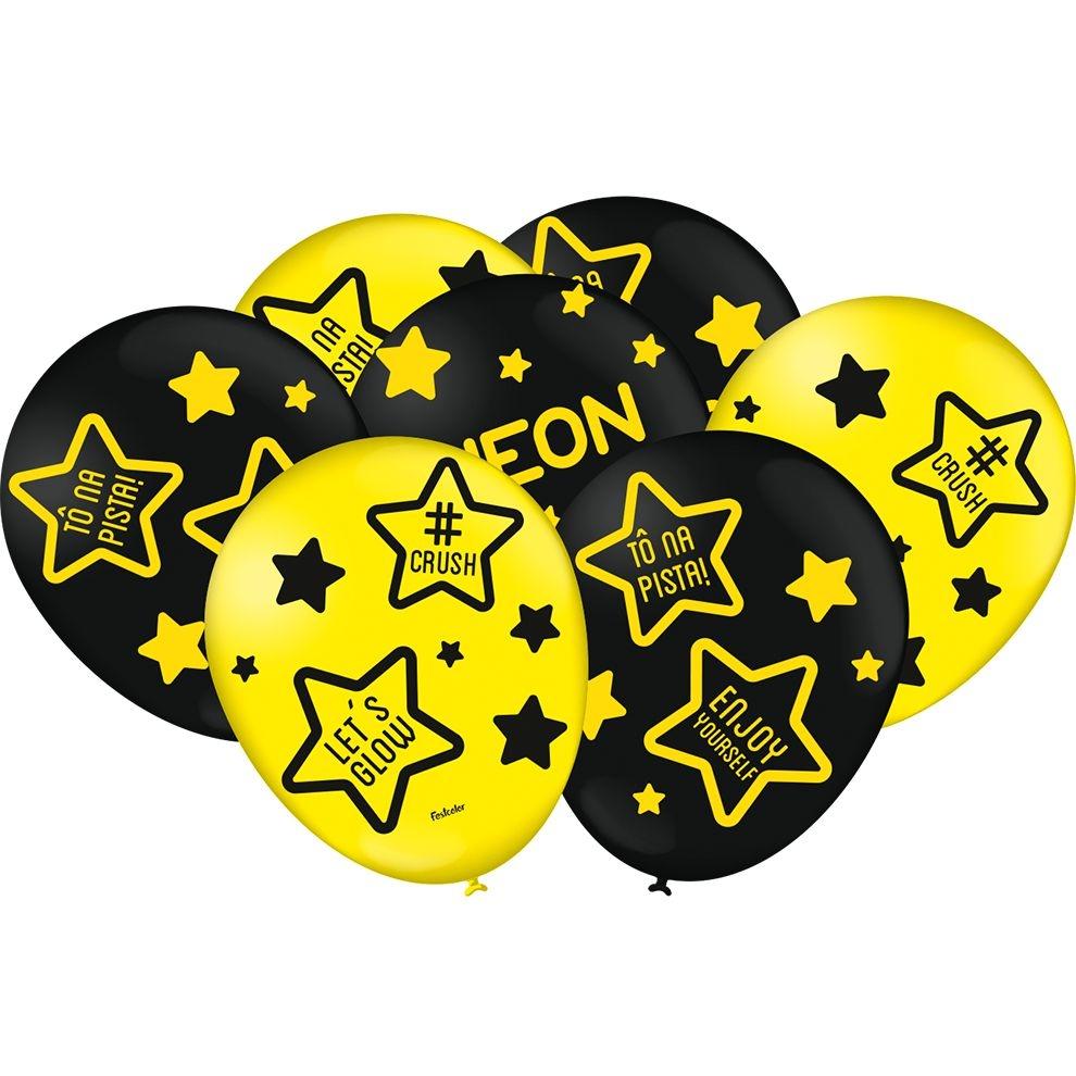"""Balão Preto e Amarelo Festa Neon - 9"""" 23cm - 25 unidades – Festcolor"""