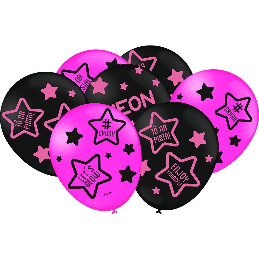 """Balão Preto e Pink Festa Neon - 9"""" 23cm - 25 unidades – Festcolor"""
