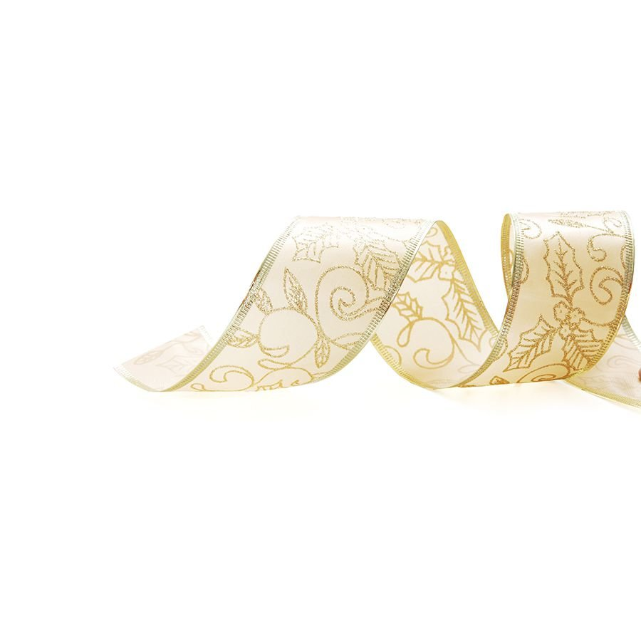 Fita Aramada Azevinho Ouro 6,3cm x 9,14m - 01 unidade - Cromus Natal