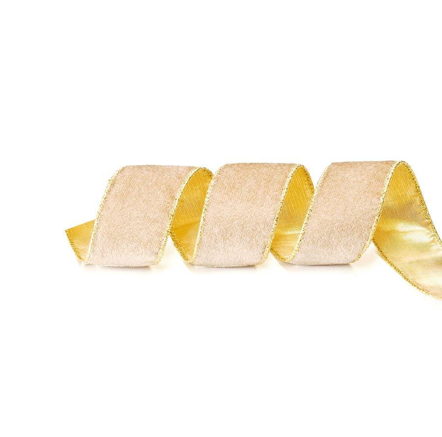 Fita Aramada Bege e Ouro 6,3cm x 9,14m - 01 unidade - Cromus Natal