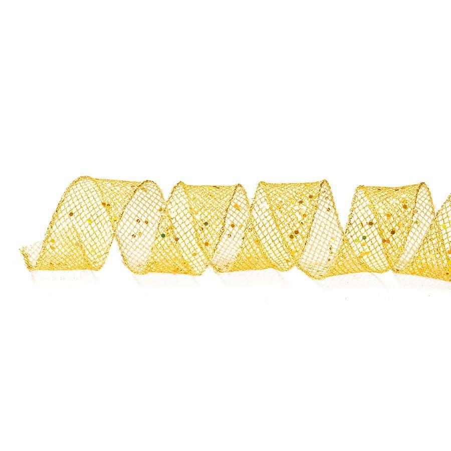 Fita Aramada Telada Ouro com Brilhos 6,3cm x 9,14m - 01 unidade - Cromus Natal