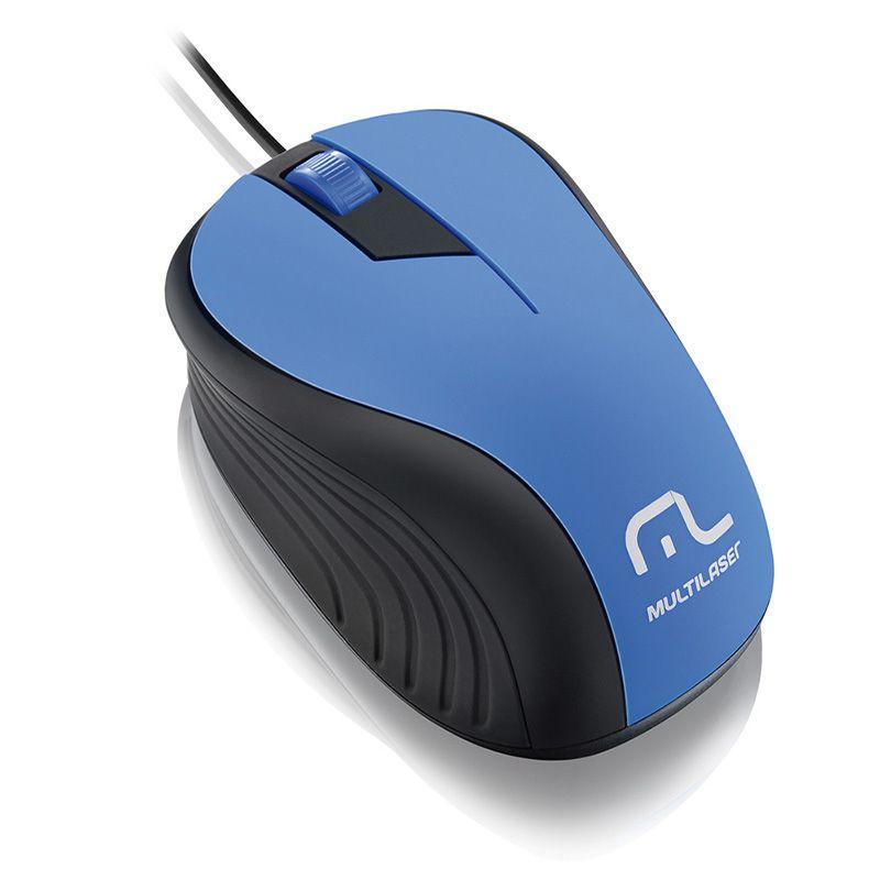 Mouse Multilaser Emborrachado Preto e Azul Com Fio Usb