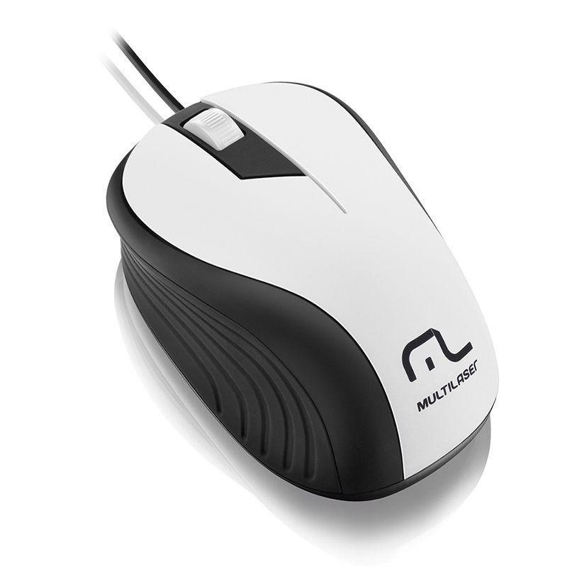 Mouse Multilaser Emborrachado Preto e Branco Com Fio Usb