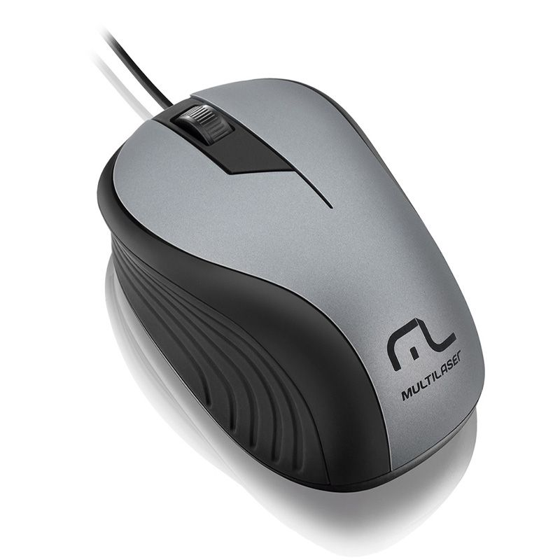 Mouse Multilaser Emborrachado Preto e Grafite Com Fio Usb