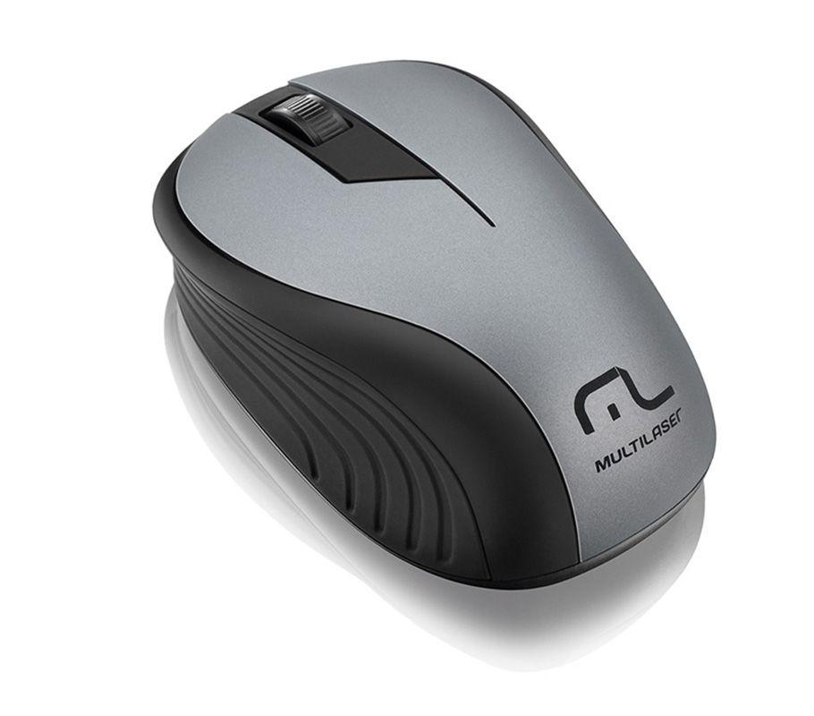 Mouse Sem Fio 2.4ghz Multilaser Preto e Grafite Usb - MO213