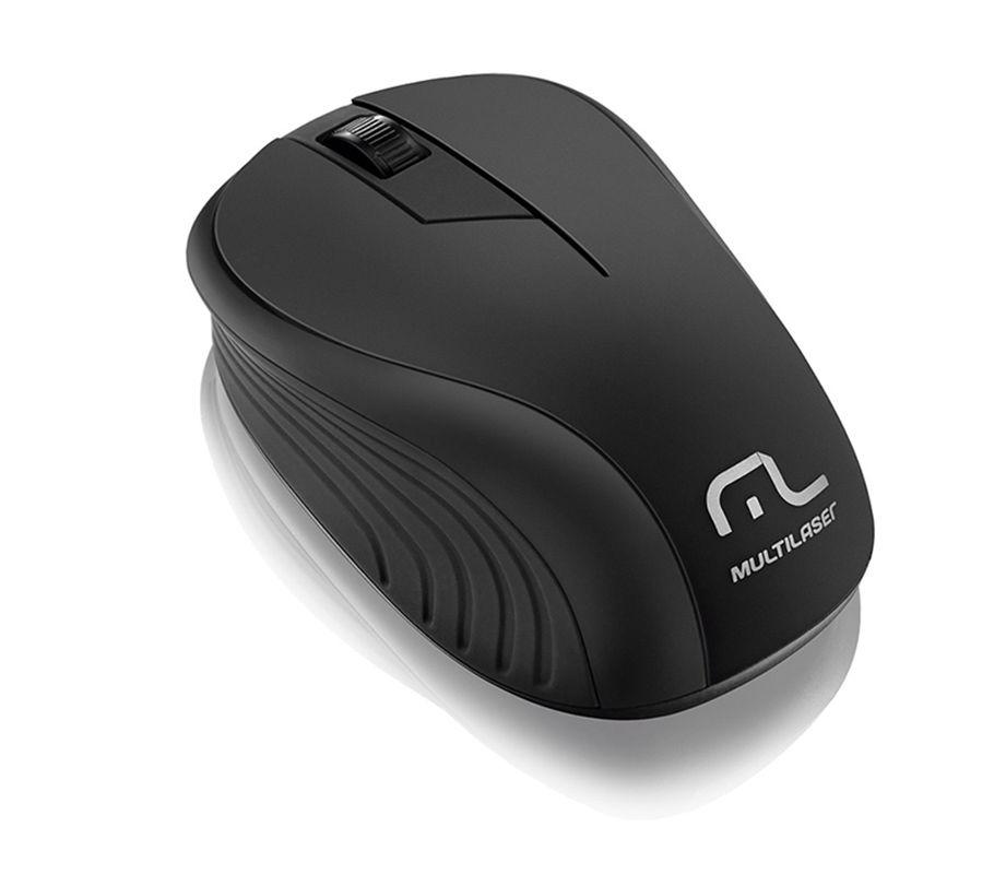 Mouse Sem Fio 2.4ghz Multilaser Preto Usb - MO212