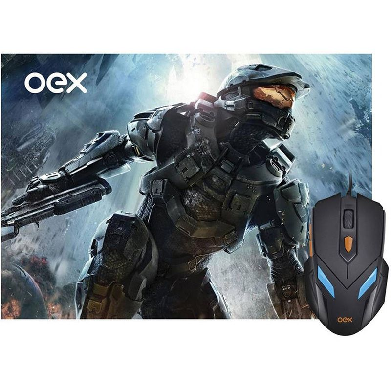 Mousepad e Mouse War Gamer Oex Led 6 Botões 2400DPI MC100