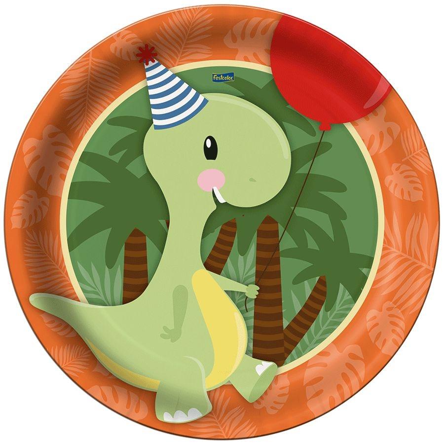 Prato Descartável Festa Dino Baby - 8 Unidades - Festcolor