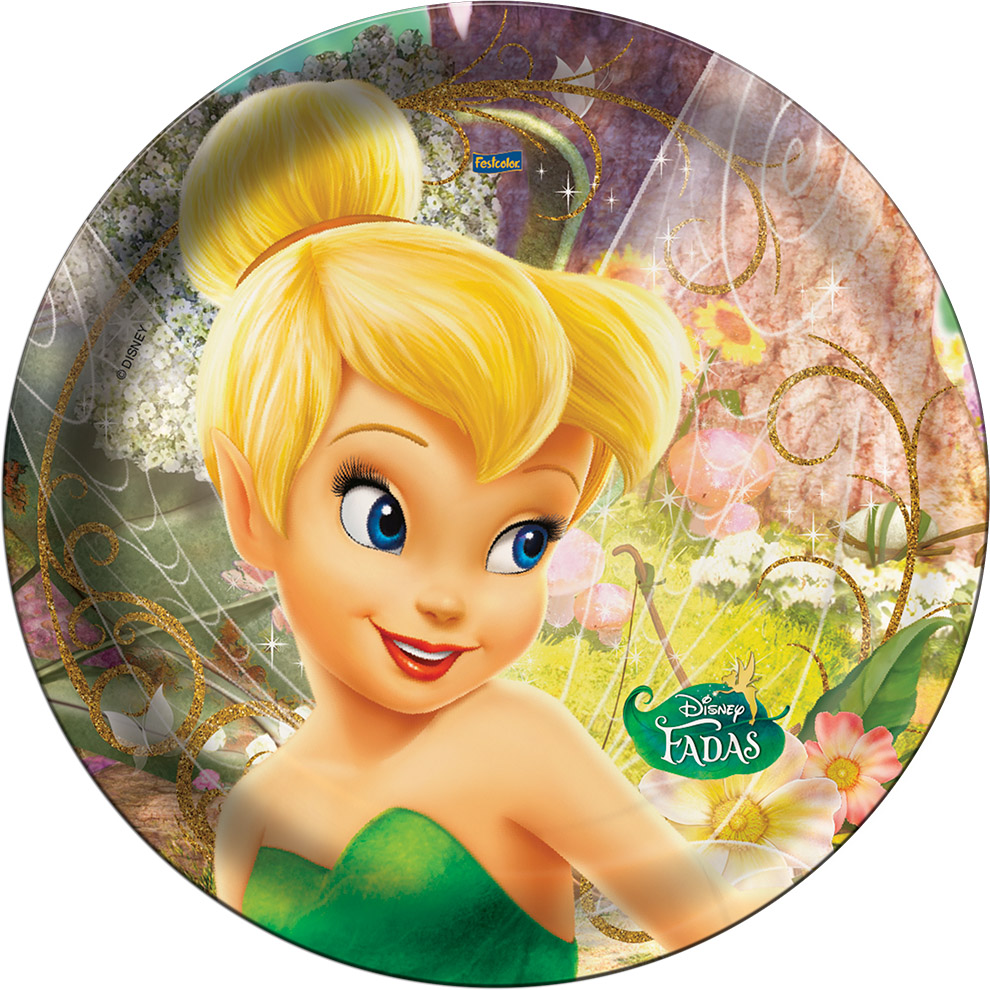 Prato Descartável Festa Fadas Disney - 8 unidades - Festcolor