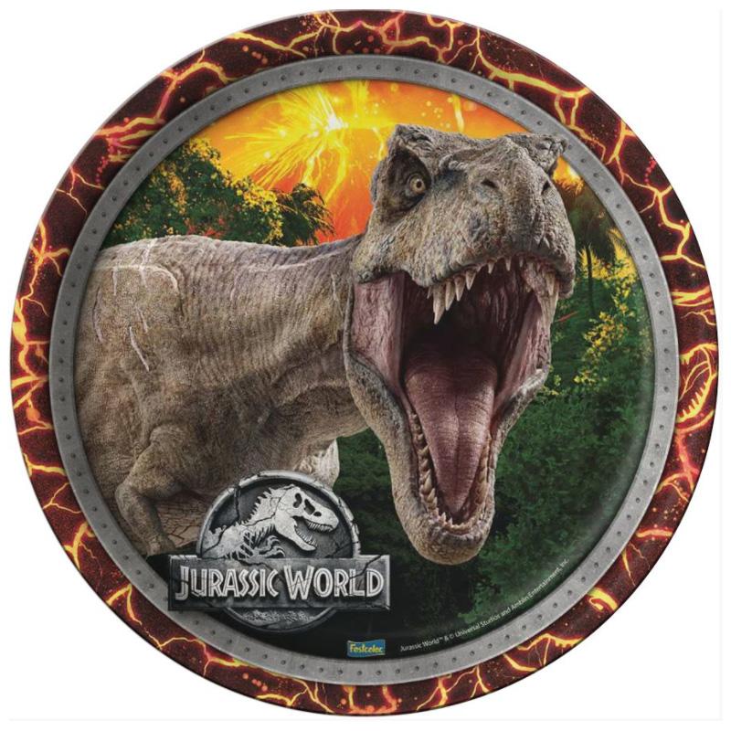 Prato Descartável Festa Jurassic World - 08 unidades - Festcolor
