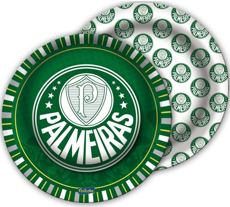 Prato Descartável Festa Palmeiras - 8 unidades - Festcolor
