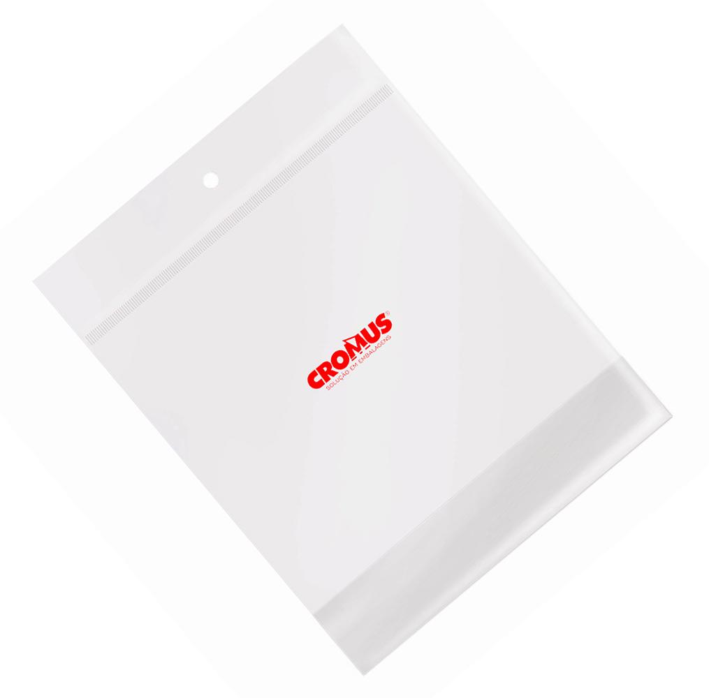 Saco Adesivado Transparente com Furo Liso Incolor - 8x25cm - 100 unidades - Cromus
