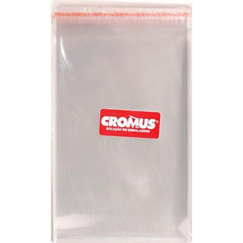 Saco Adesivado Transparente Liso Incolor 10x25cm - 100 unidades - Cromus