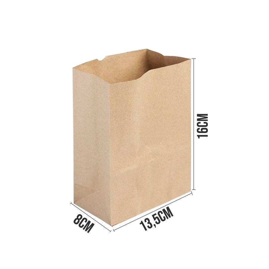 Saco de Papel Ref 3344 - 13,5x8x16cm - Kraft - 10 unidades - WMA