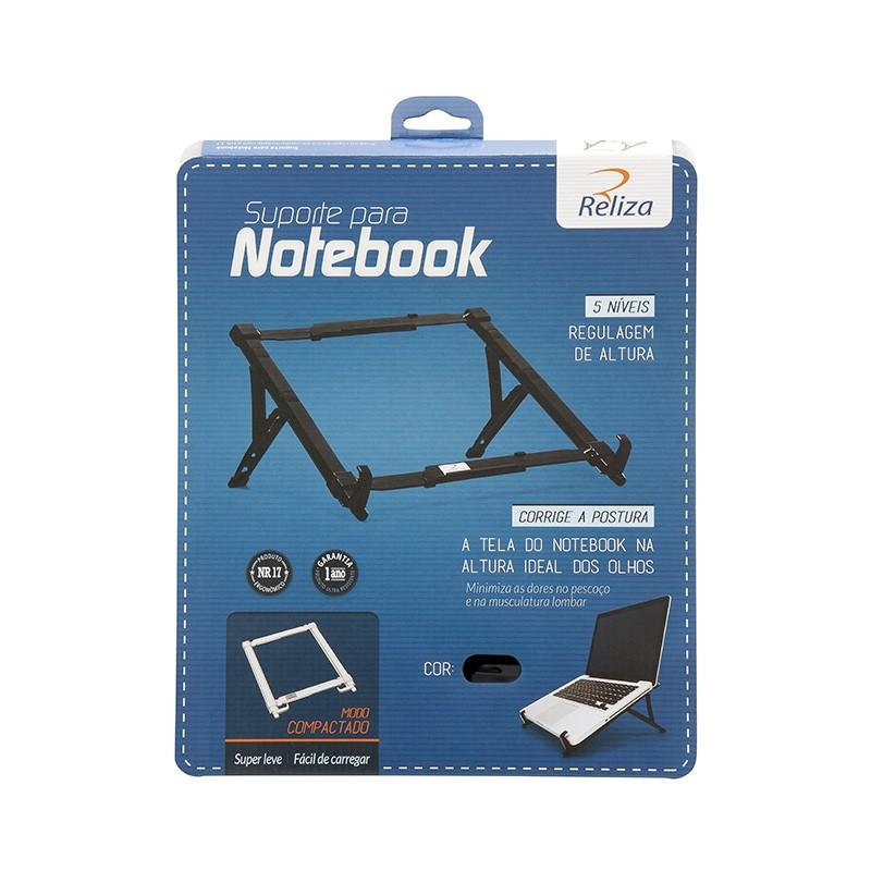 Suporte para Notebook Plástico Regulável Preto - Reliza - 4458