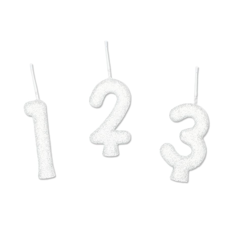 Vela Glitter Branco - 01 Unidade - Regina