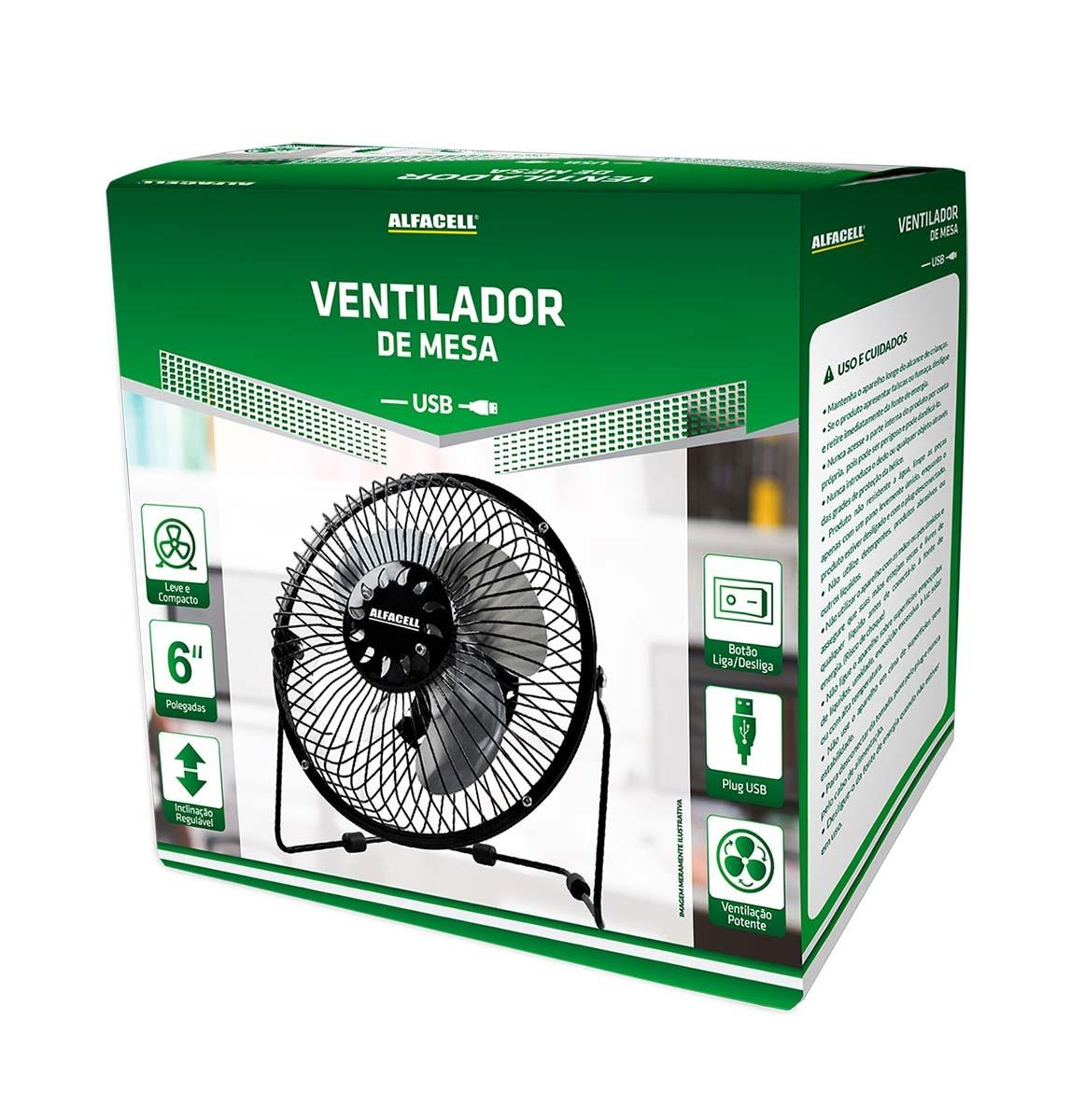 Mini Ventilador De Mesa Usb Alfacell -  Preto - AL12004