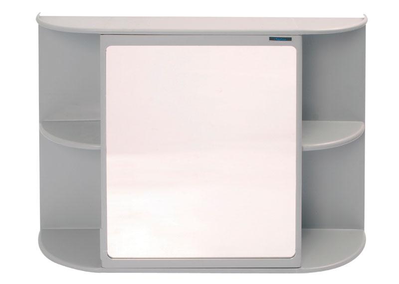 Armário P Banheiro Sobrepor Safira C Espelho E Porta Cinza  R$ 69,56 em Merc -> Armario Banheiro Safira