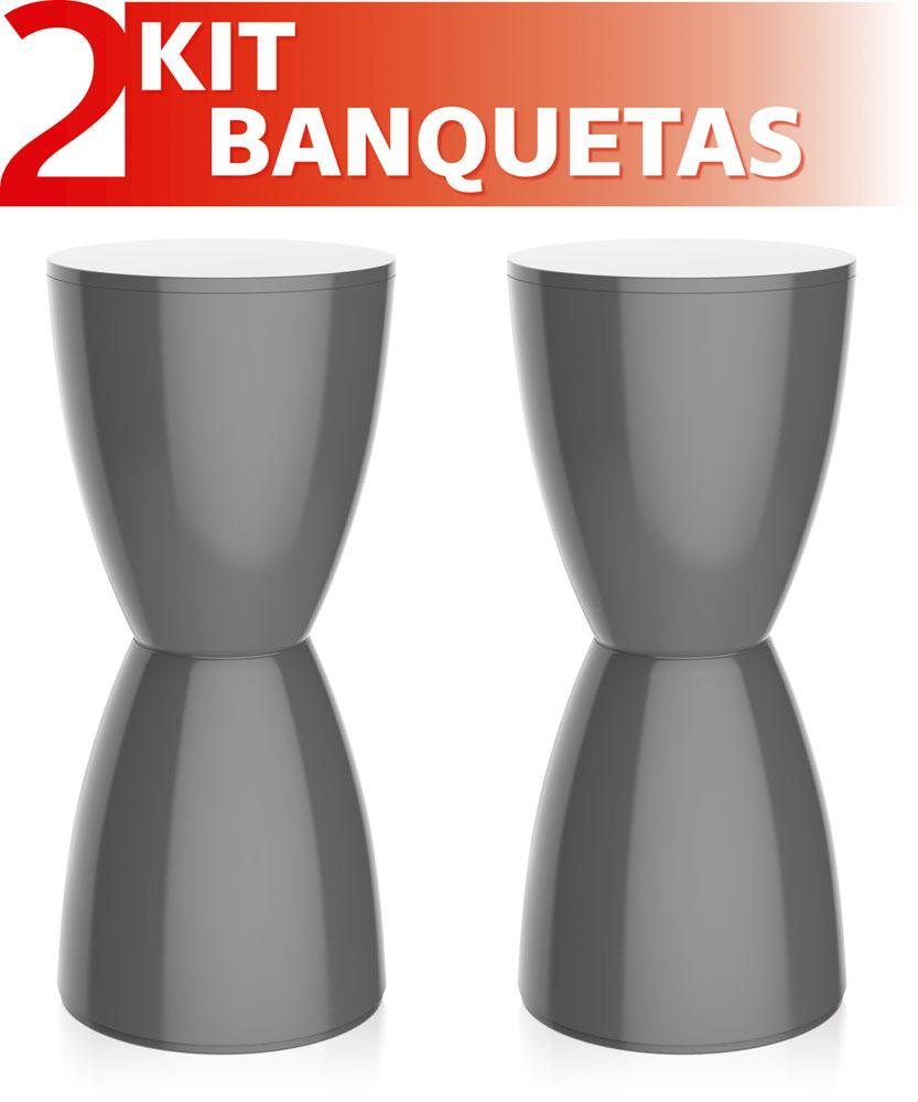 KIT 2 BANQUETAS BERY COLOR CINZA