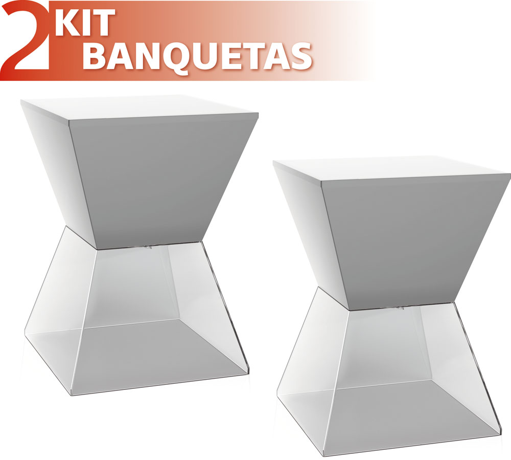 KIT 2 BANQUETAS NITRO ASSENTO COLOR BASE CRISTAL CINZA