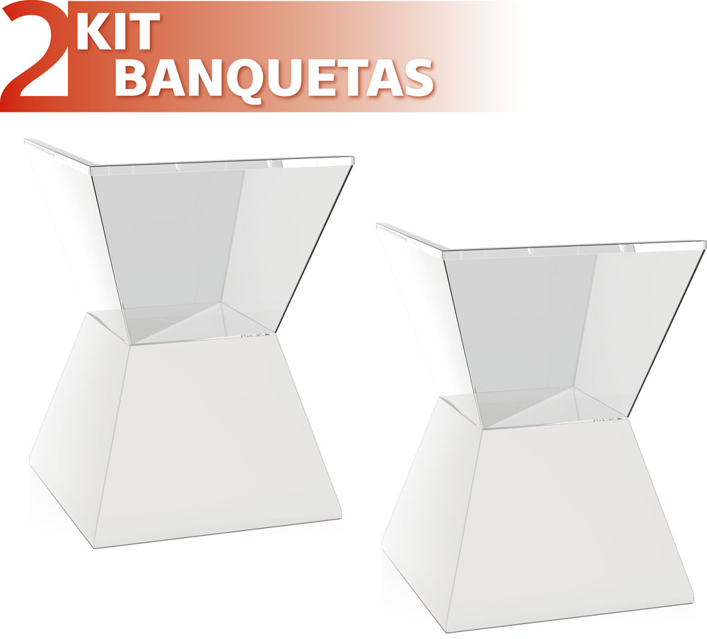 KIT 2 BANQUETAS NITRO ASSENTO CRISTAL BASE COLOR BRANCO