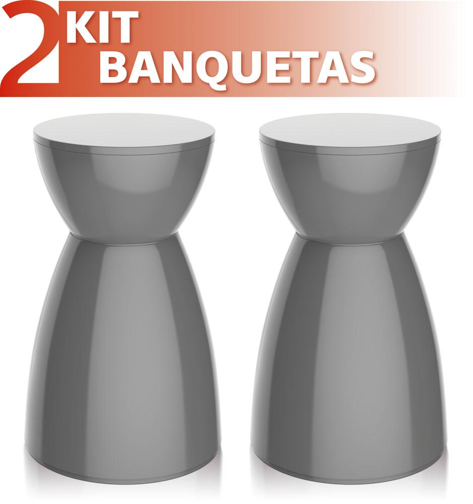 KIT 2 BANQUETAS RAD COLOR CINZA