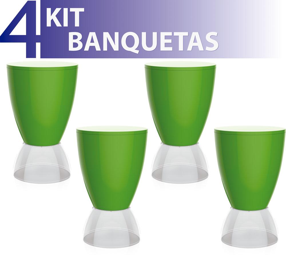 KIT 4 BANQUETAS ARGO ASSENTO COLOR BASE CRISTAL VERDE