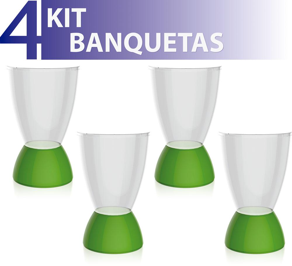 KIT 4 BANQUETAS ARGO ASSENTO CRISTAL BASE COLOR VERDE