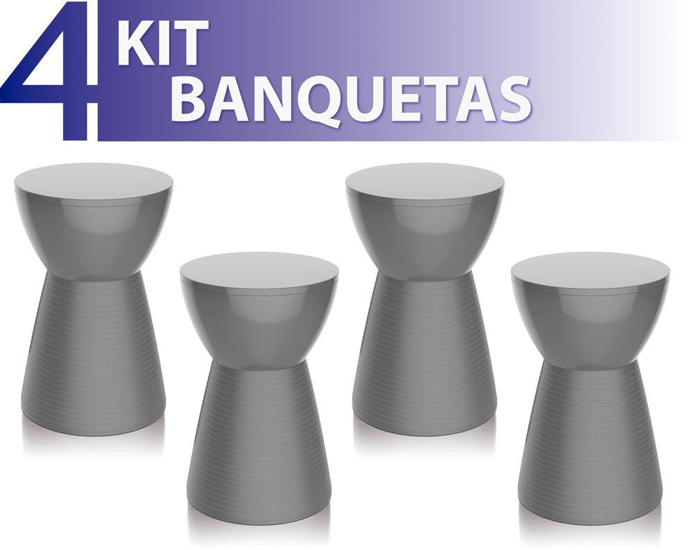 KIT 4 BANQUETAS SILI COLOR CINZA