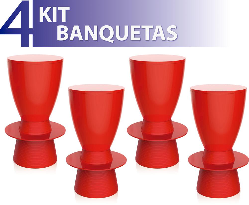 KIT 4 BANQUETAS TIN COLOR VERMELHO