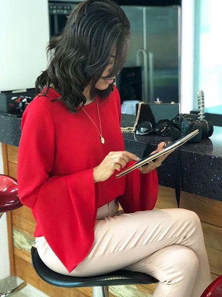 Blusa flare vermelha