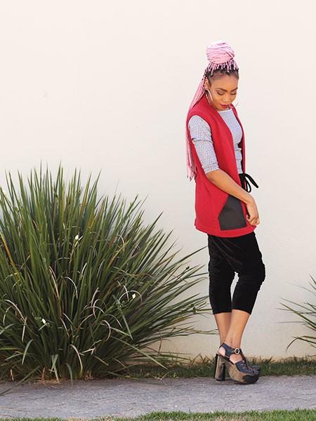 Colete tricot cereja
